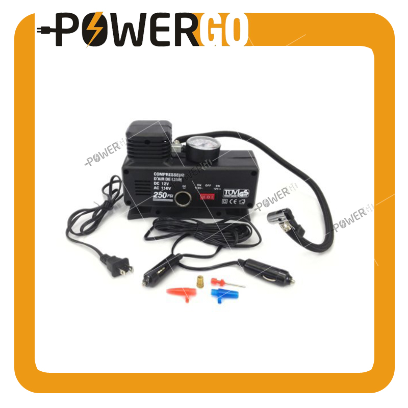 Outdoors Portable Air Compressor AC/DC Heavy Duty 250 Psi -12 Volt + 110 Volt Tire Inflator for Home (110V) / Car (DC 12V)