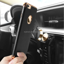 Custom leather pattern magnetic back cover case for iphone 6, for Samsung