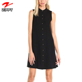 Women's Sleeveless Shirt Collar Button Front Crepe Trapeze Wholesale Casual Dresses