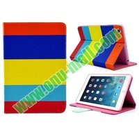 Colorful Horizontal Stripe Leather stand case for iPad Mini 2 Mini Retina with Magnetic