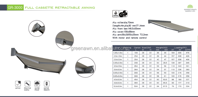 Full cassette Retractable Awnings Motorized remote control retractable awning for decking