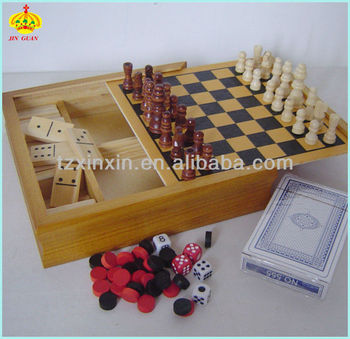 Christmas gifts wooden multi function chess game set for family playing and chess game box