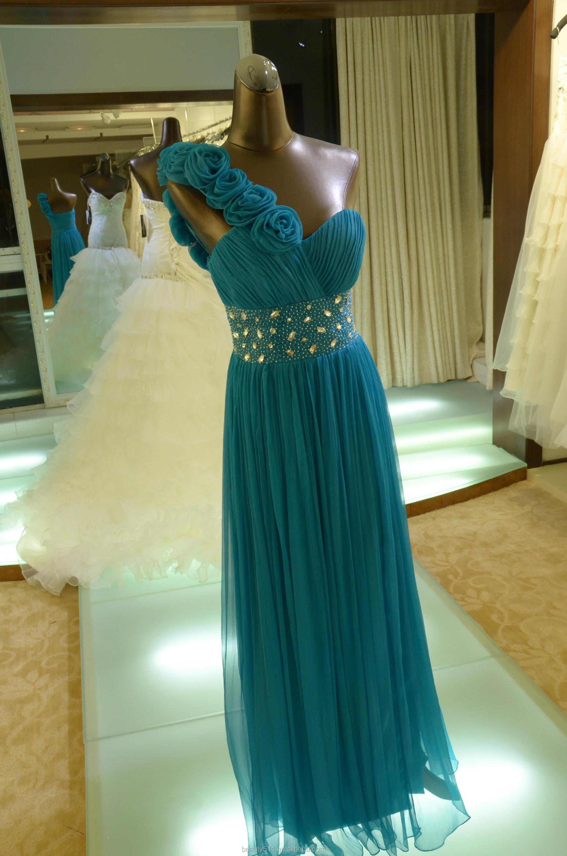 IN STOCK One-Shoulder real silk party dress women's short prom dress SE19