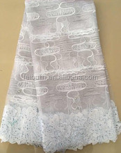 LL2892 Silver white Tulle Beaded Lace Fabric Wholesale /stones Tulle Net Embroidery Lace / French Lace for wedding dress