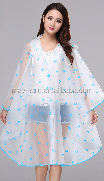 100% water proof PVC/ Polyester rain poncho with hood
