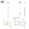 Rotation 90 Degree Height Adjustable Hanging White TV Stand For Single Screen