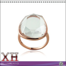 Classic Frame Rose Gold over Silver Free-form Crystal Clear Quartz Ring