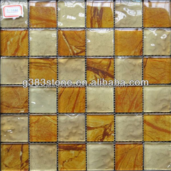 Glossy Rectangle Yellow Glass White Marble Mosaic Tile