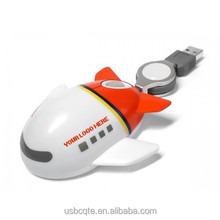 Factory USB Optical Airplane Shape Cute Mouse For Promotional Gift