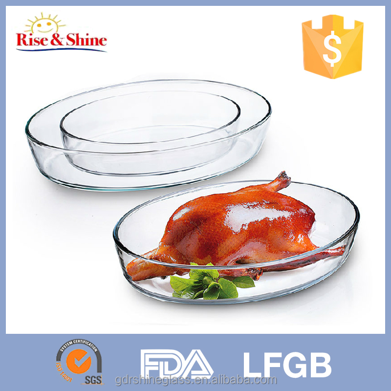 Oval Heat-resistant microwave baking dish/Borosilicate Pyrex Food pyrex glass baking dish