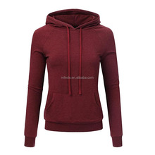 Custom Women OEM Fitted Sport Gym Active 2017 Winter Fall Cotton French Terry Fabric Solid Cheap Plain Hoodies