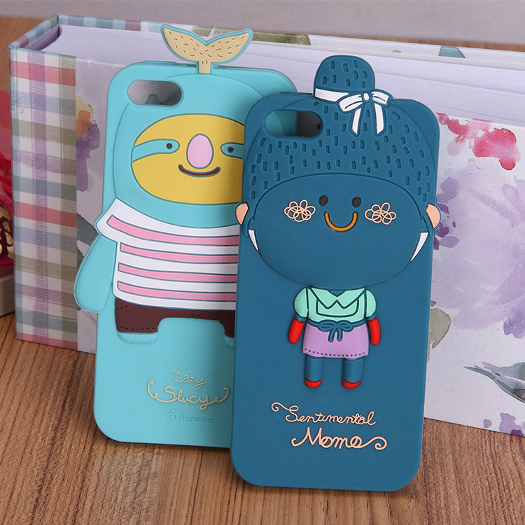 custom cute 4.7 inch cheap animal shape silicone mobile phone case