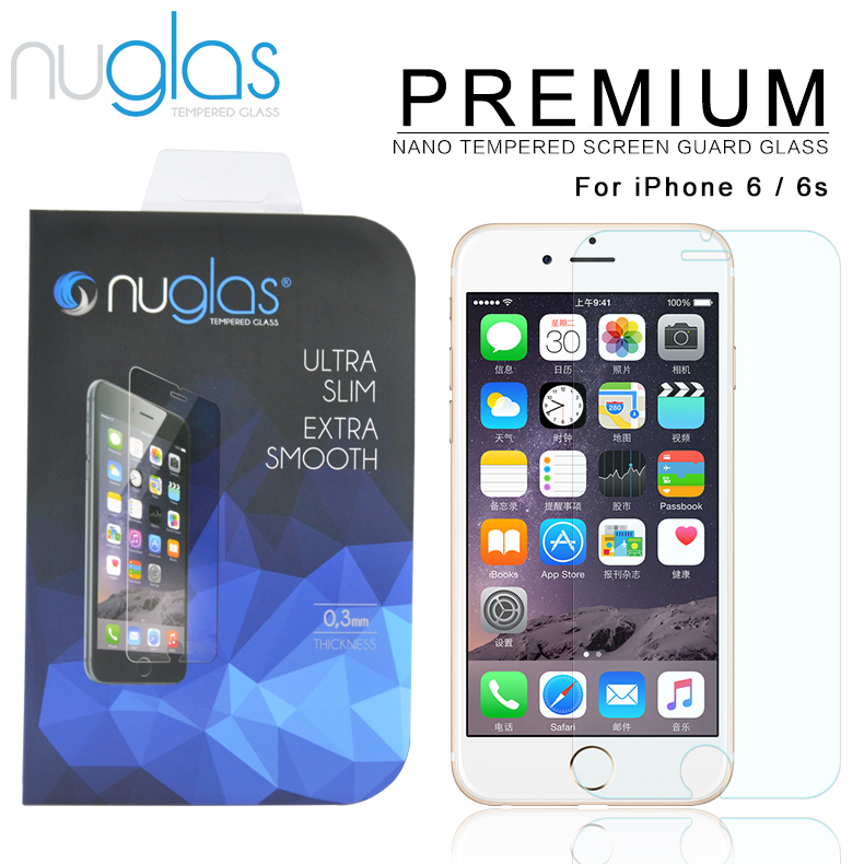 Original nuglas Clear Tempered Glass Screen Protector for iPhone 6 factory tempered glass screen protector