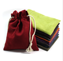 suede jewelry pouch/velvet jewelry bag drawstring with printed logo wholesale