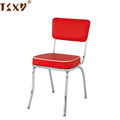 Red vinyl seat and back metal chrome chair for kitchen