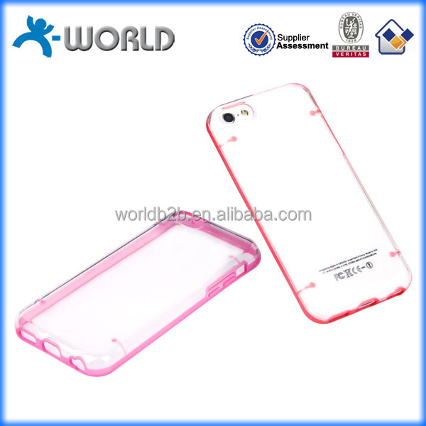 Fashion night light transparent back 4 spots pc + tpu case for iphone