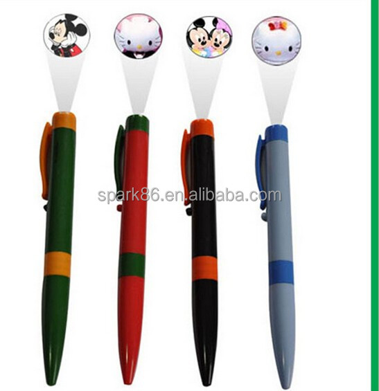 knocked can flash school used led plastic led projector logo pen