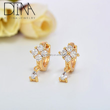 Different styles of fashion zircon earrings Women of rich and colorful wedding gold plated earrings