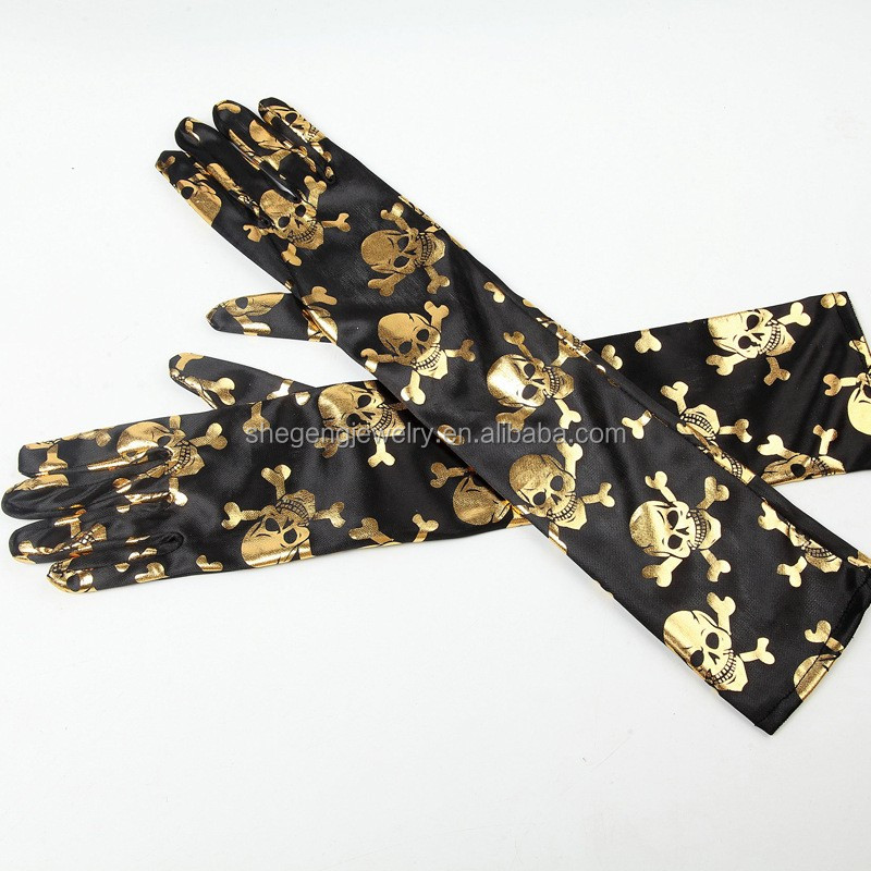 Skull Bones Printed On Black 40cm Long Glove