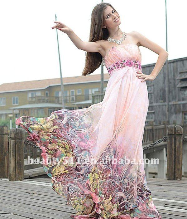 Astergarden Real Sample Strapless printed Colorful chiffon Evening Dress AS139