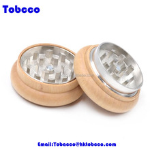 Wholesale manual Custom Logo 2 Parts Herb tobacco Grinder CNC Teeth 55mm Wooden Spice Grinder weed