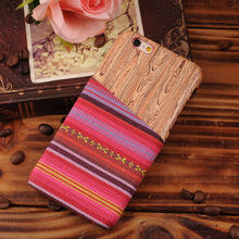 For Apple Compatible Brand, wood case for iphone6 with cloth wallet , for iPhone 6 Plus phone cover