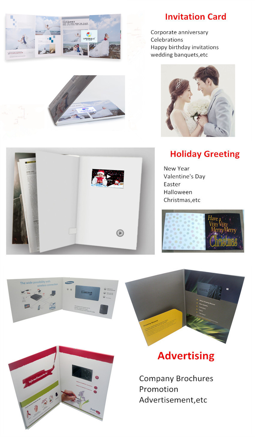 7 Inch Screen Video Brochure,Chinese Homemade LCD Greeting Card