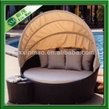 pe rattan round sofa bed with tent and ottoman