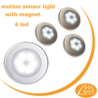 Auto 6 led silver cordless mini motion sensor night led light, kitchen night light, magnetic sensor led light