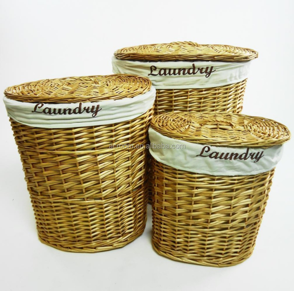 Brown Black White Oval Wicker Laundry Basket With Lid