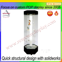 High end toy glass display case with led light