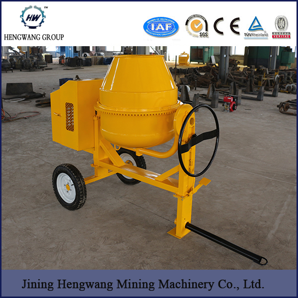 Cement Mixer HW-350, Towable Mini Cement Mixer with Electric Start 6.6HP Diesel Engine Concrete Mixer