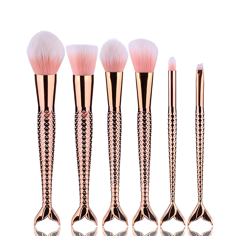 High quality blue color mermaid fish tail make up brushes mermaid makeup brush set