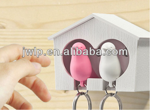 Sparrow whistle Key Ring Birdhouse Gadget Home Wall Hook Holder Keychain