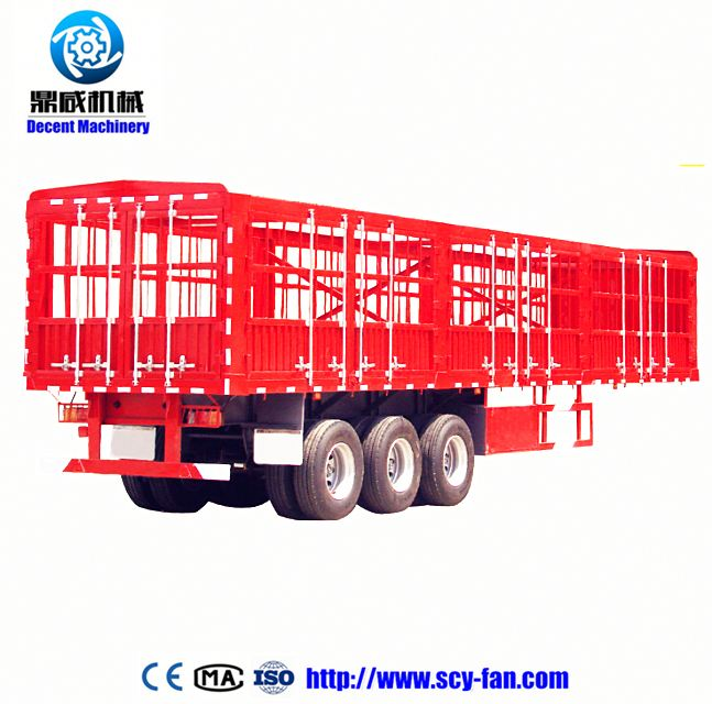 Widely used 20 feet 40 feet 40ft flat bed container semitrailer , 3 axles gooseneck container transport vehicle semi trailer