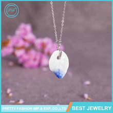 Yiwu Jewelry Manufacturer National Style Handmade Blue And White Porcelain Pendant Necklace