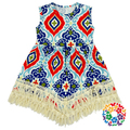 Girls Boutique Outfits Sleeveless Flower Pattern Cotton Toddler Summer Dress