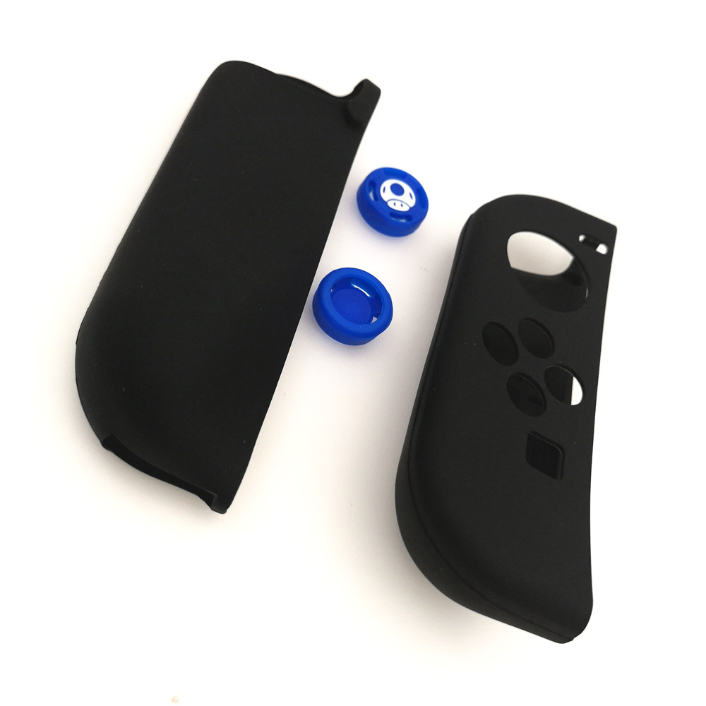 Black Soft Silicone Protective Skin Case +2 Thumbstick Grips Joystick Caps Cover for Nintend Switch NS Joy-Con Controller