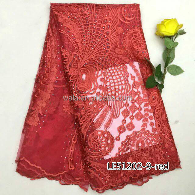 African Beads red French Net Lace Fabric LE51202-9 For Women Clothing From China