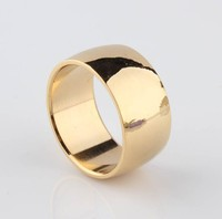 12mm Never fading 18k Classic Engagement Wedding rings Yellow Gold Ring 316L Stainless Steel rings for men and women