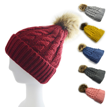 2017 Winter For Woman Knitted Wool Hats with Poms