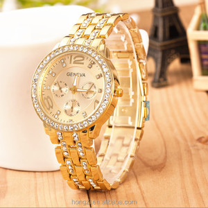 New Famous Brand Women Stainless Steel Dress Watches Relogio Feminino Men Clock Hot Gold Crystal Geneva Casual Quartz Watch