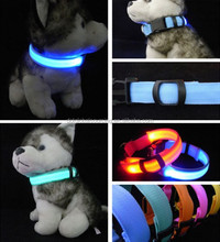 New Best Selling Multi-color Nylon Pet Collar Flashing Dog Cat LED Glowing Pet Collar for Safety