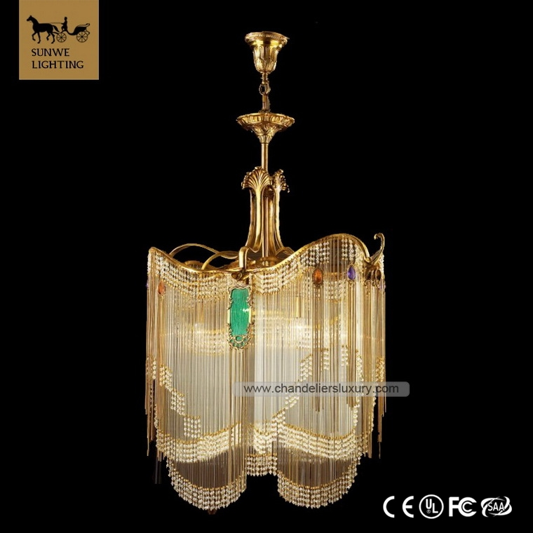Antique Baroque 6 Pendant Lights Bronzed Bedroom square Copper iron and crystal chandeliers
