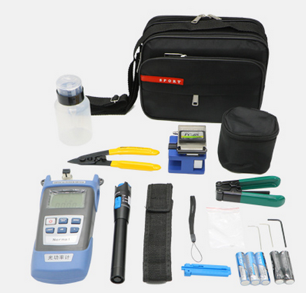 Cold Tool Kit Toolbox Leather Wire Cable Tool Set Optical Power Meter Red Pen Fiber Optic Cutter