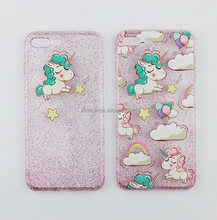 3D Unicorn Crystal Bling phone case for iphone 6 Soft tpu Unicorn Case for apple iphone 6 6plus
