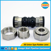 Thread union rubber bellows flexible pipe connector