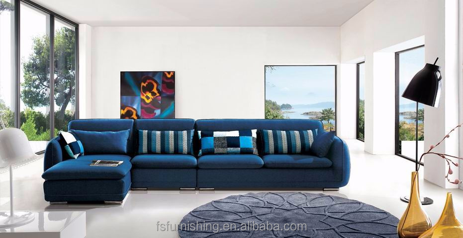 Md617 Modern Comfortable Noble Blue Luxury Velvet Fabric Living Room