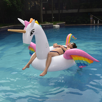 Hot Sale Giant Inflatable Rainbow Pegasus Unicorn Pool Floating with rainbow wing swim toys for pool