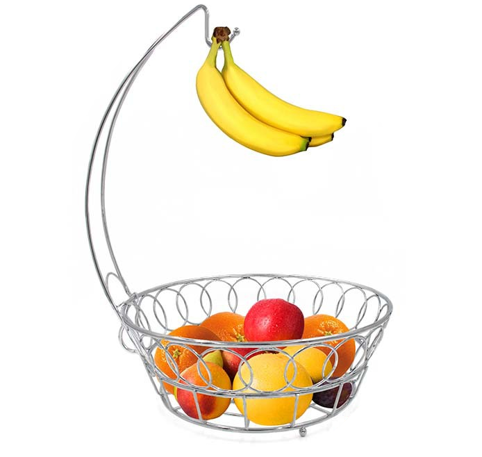 Factory Price Fruit Basket With Banana Holder/ Chrome Metal Wire Hanger